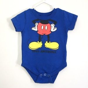 6M Disney Mickey Mouse Short Sleeve Blue Onesie